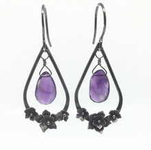 Load image into Gallery viewer, Oxidized Silver & Amethyst Floral Drop Earrings