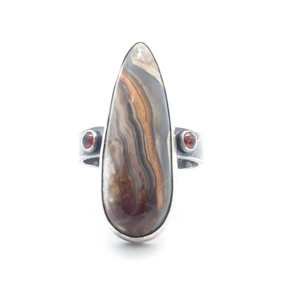 Mexican Crazy Lace Agate and Garnet Ring in Sterling Silver, Size 9.75