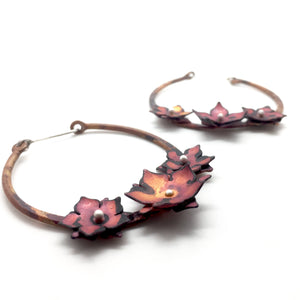Copper Floral Hoops with Red Patina and Sterling Silver Earwires