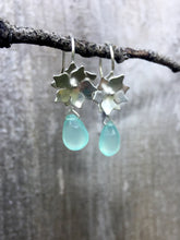 Load image into Gallery viewer, Sterling Silver Floral Drop Earrings with Chalcedony