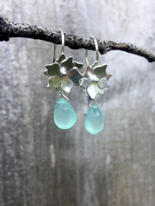Sterling Silver Floral Drop Earrings with Chalcedony