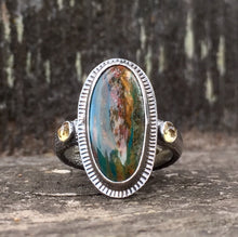 Load image into Gallery viewer, Green Turquoise Ring with Citrine in Sterling Silver
