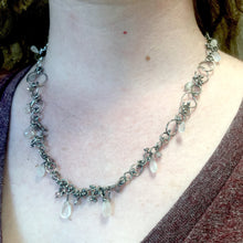 Load image into Gallery viewer, Handmade Chain Necklace in Sterling Silver with Moonstone, Labradorite, and Tourmaline