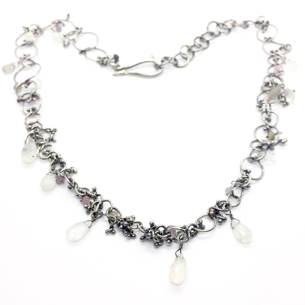 Handmade Chain Necklace in Sterling Silver with Moonstone, Labradorite, and Tourmaline