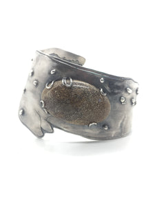 One of a Kind Whale Bangle in Sterling Silver with Fossilized Whale Bone & Moonstone Accents