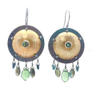 Brass Shield Earrings with Abalone, Serpentine, Tourmaline, & Sapphire with Sterling Silver Earwires