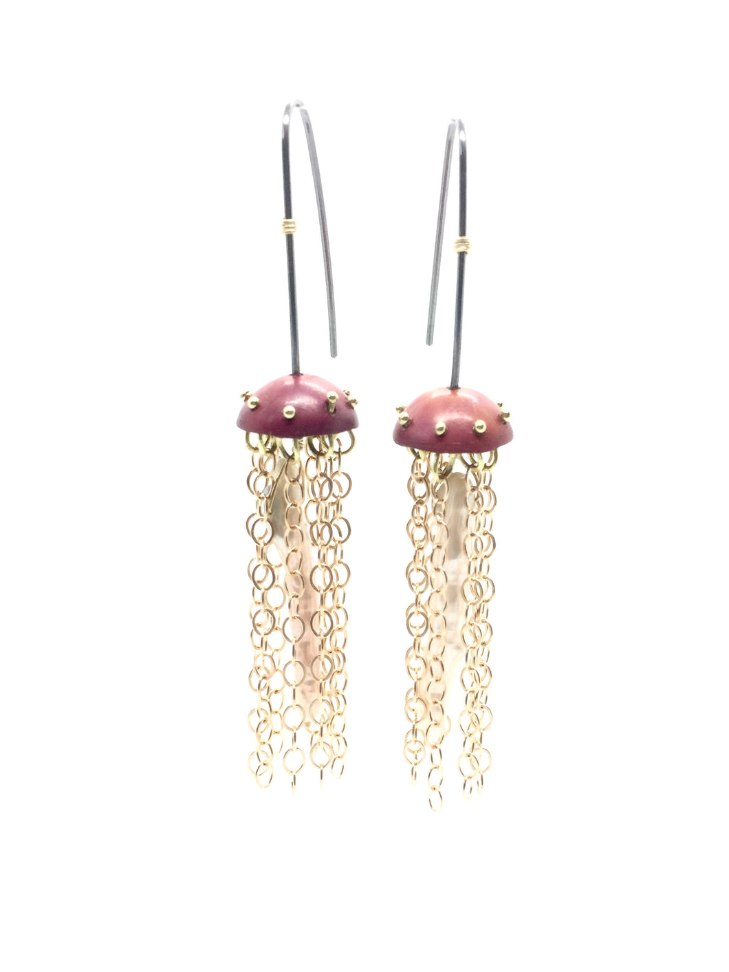 Copper Jellyfish Chain Earrings with Pearls and Sterling Silver Earwires