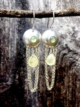 Load image into Gallery viewer, Abalone and Green Garnet Droplet Earrings in Sterling Silver