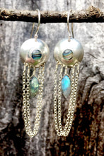 Load image into Gallery viewer, Abalone and Labradorite Droplet Earrings in Sterling Silver