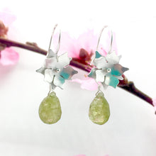 Load image into Gallery viewer, Sterling Silver Floral Drop Earrings with Green Garnet