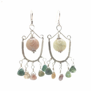 Wire Wrapped Chandelier Earrings with Jasper