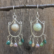 Load image into Gallery viewer, Wire Wrapped Chandelier Earrings with Jasper