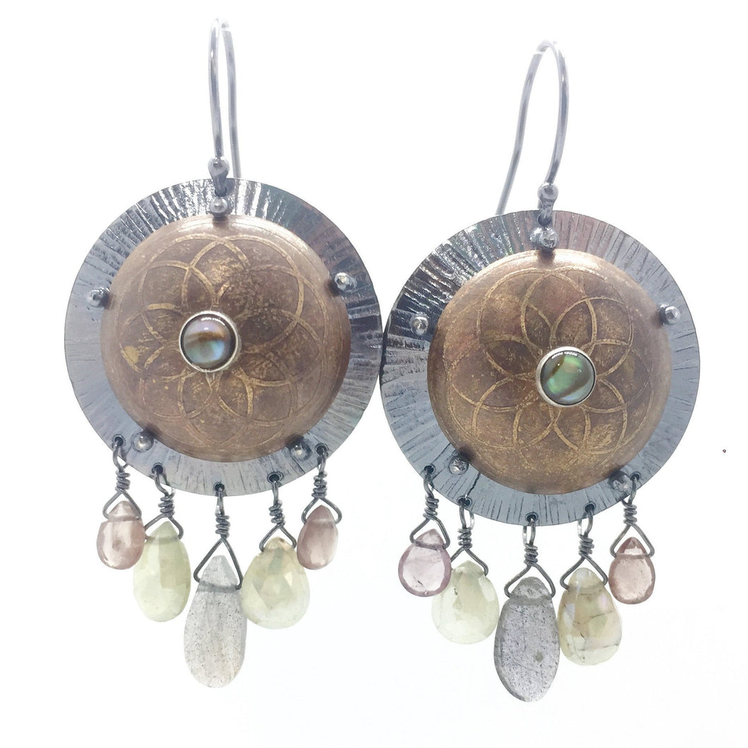 Brass Shield Earrings with Abalone, Green Garnet, Prehnite, & Labradorite with Sterling Silver Earwires