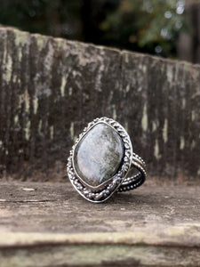 Grey Tourmaline Ring in Sterling Silver, Size 9.75