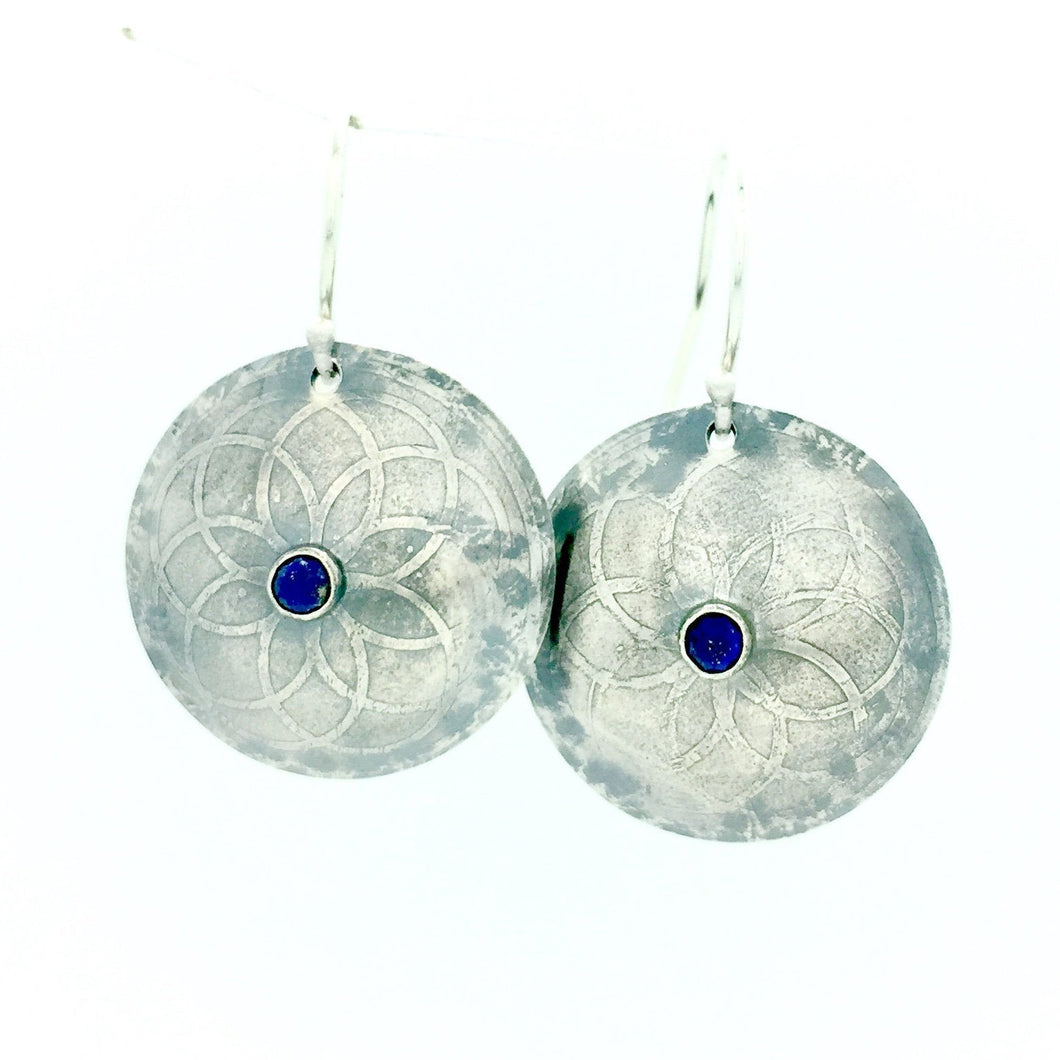 Sterling Silver Etched Mandala Earrings with Lapis Lazuli