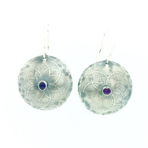 Sterling Silver Etched Mandala Earrings with Amethyst
