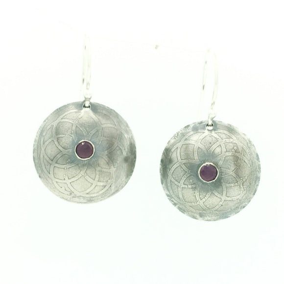 Rhodolite Garnet Etched Mandala Earrings in Sterling Silver