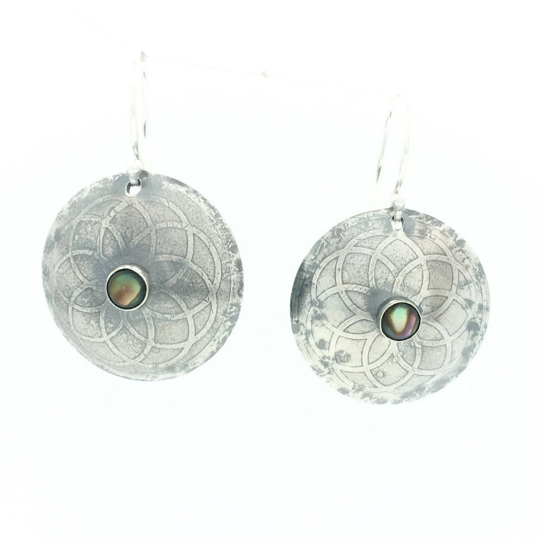 Sterling Silver Etched Mandala Earrings with Abalone