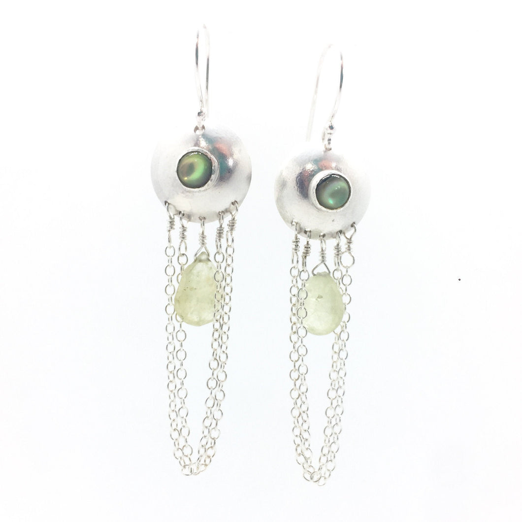 Abalone and Green Garnet Droplet Earrings in Sterling Silver