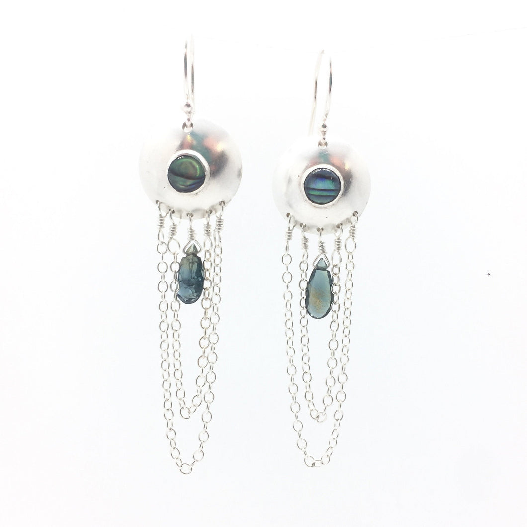 Abalone and Australian Sapphire Droplet Earrings in Sterling Silver