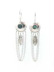 Abalone and Labradorite Droplet Earrings in Sterling Silver