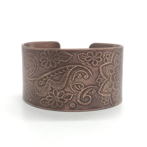 Copper Mehndi Bangle Cuff Bracelet