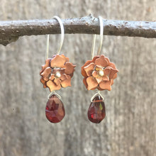 Load image into Gallery viewer, Copper Floral Drop Earrings with Garnet and Sterling Silver Earwires