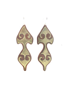 Copper & Brass Rustic Talisman Earrings with Sterling Silver Earwires