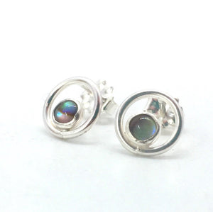 Sterling Silver Orbit Studs with Your Choice of Gemstone