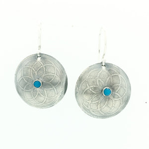 Sterling Silver Etched Mandala Earrings with Turquoise