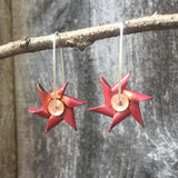 Spinning Copper Pinwheel Earrings with Sterling Silver Earwires