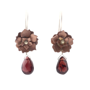 Copper Floral Drop Earrings with Garnet and Sterling Silver Earwires