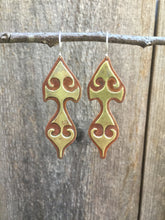 Load image into Gallery viewer, Copper & Brass Rustic Talisman Earrings with Sterling Silver Earwires