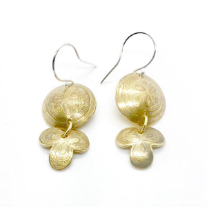Etched Brass Mehndi Earrings with Sterling Silver Earwires