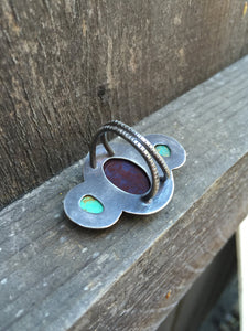 Hand Stamped Bloodstone and Turquoise Triad Ring in Sterling Silver