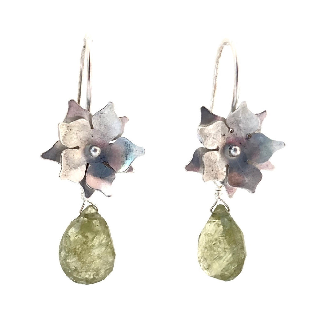 Sterling Silver Floral Drop Earrings with Green Garnet