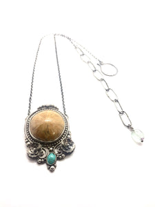 Fossilized Sea Urchin & Turquoise Pendant Necklace in Sterling Silver