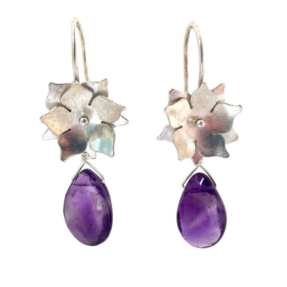 Sterling Silver Floral Drop Earrings with Amethyst