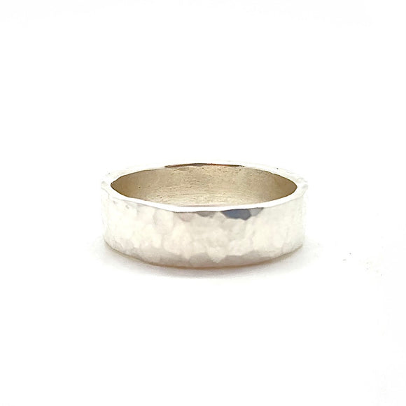 5mm Hammered Band Ring in Sterling Silver