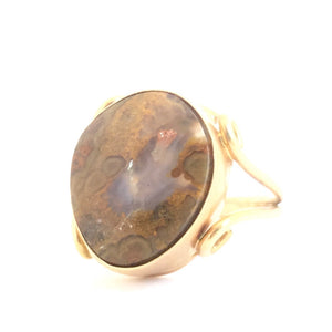 Crazy Lace Agate Ring in 14k Gold, Size 8