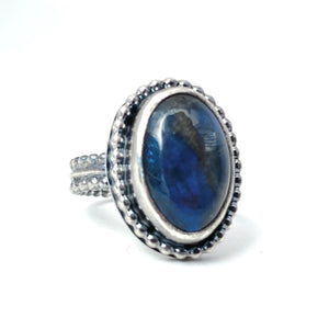 Labradorite Ring in Sterling Silver, Size 6.5