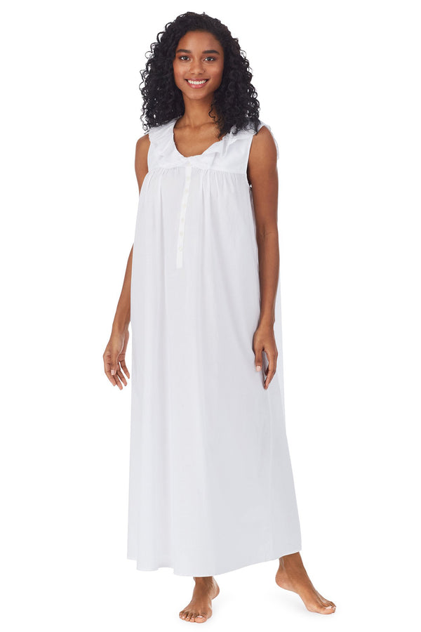 White Cotton Dream Long Nightgown Plus