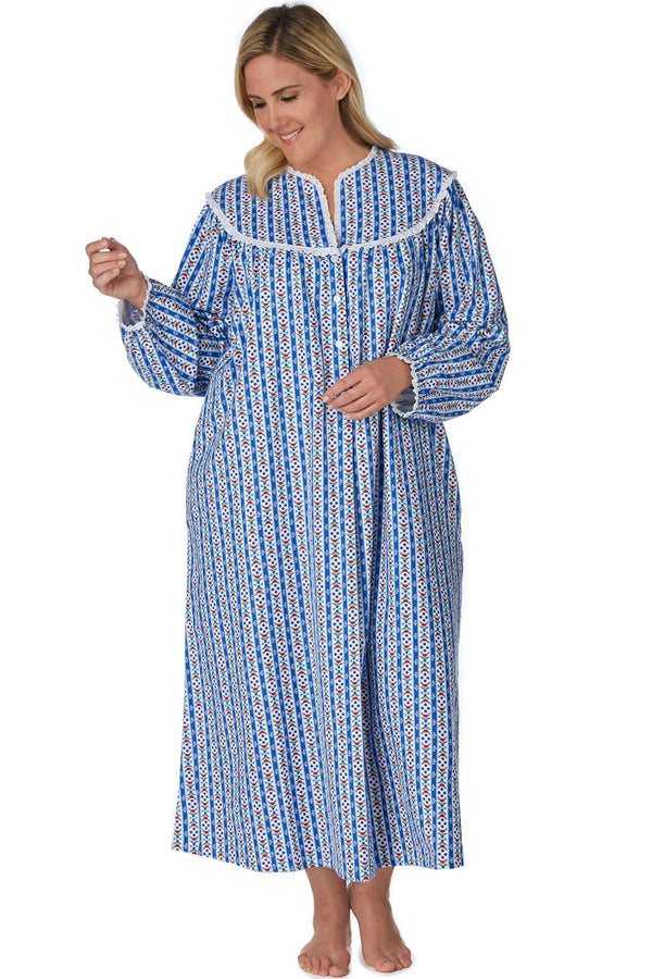 Classic Tyrolean Stripe Flannel Gown