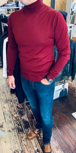 Sseinse rollneck jumper in berry from Gere Menswear