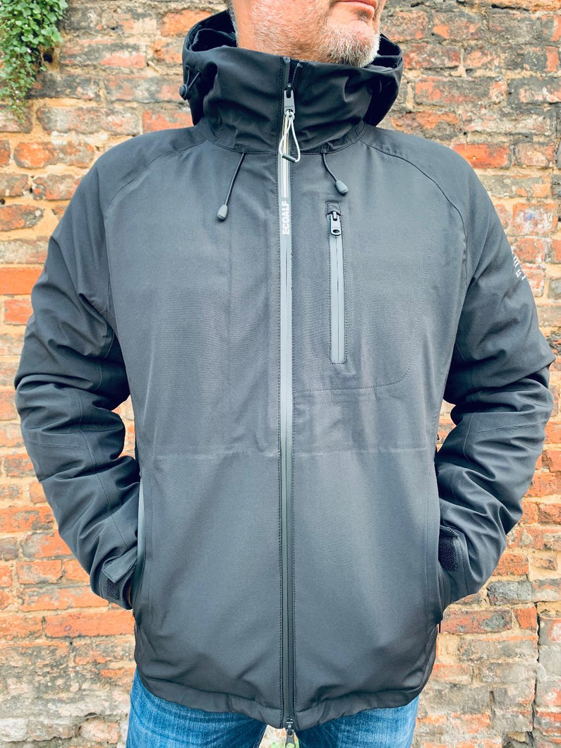 Black ECOALF technical jacket front from Gere Menswear