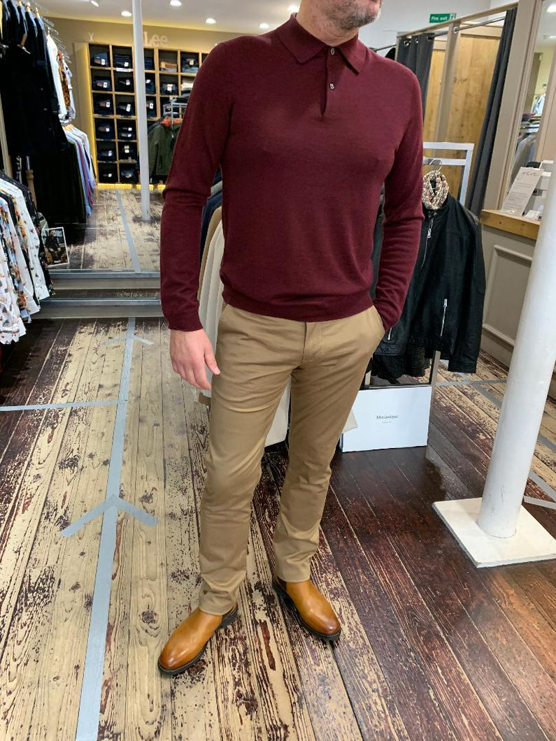 Matiniue camel chinos with red Hartford knitwear from Gere Menswear