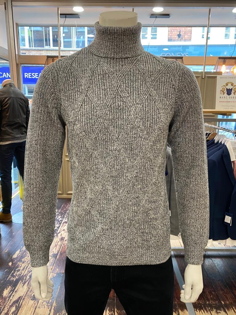 Casual Friday soft grey rollneck jumper from Gere Menswear