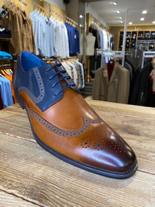 Azor Missori burnished chestnut and blue brogue from Gere Menswear
