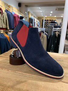Lacuzzo navy suede Chelsea boot with red insert from Gere Menswear