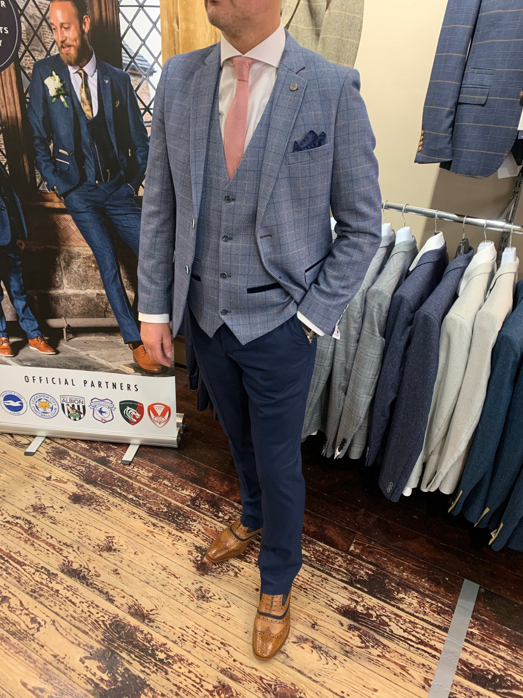 Marc Darcy 'Harry' blue jacket and waistcoat with contrasting trousers from Gere Menswear